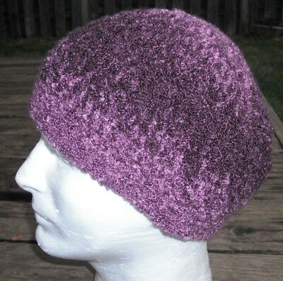 Funky Purple Shades Large Crocheted Soft Beanie - Handmade by Michaela