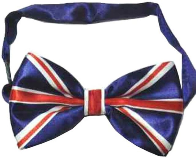Union Jack Flag PreTied Mens Mans Bow Tie Pre Tied Adjustable Dickie Wedding