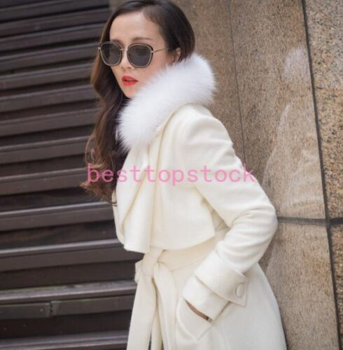 Kvinders Thicken Trench Outwear Coat Størrelse Real Belt Fur Fox Cashmere Collar nRax6n