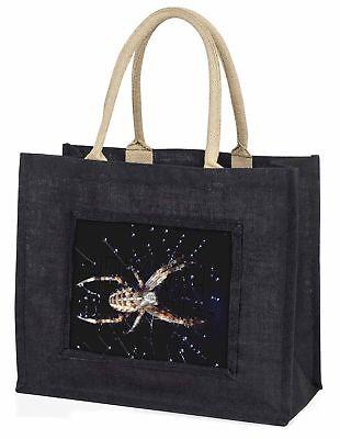 Spinne in seinem Tautropfen Netz Craft Große schwarze Einkaufstasche WEIHNACHTEN