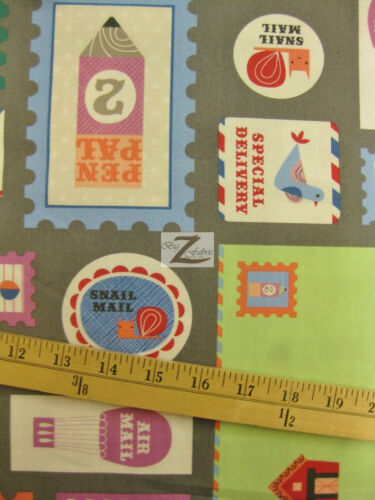 """MAIL HANDLE WITH CARE GRAY BY ROBERT KAUFMAN 100/% COTTON FABRIC 45/"""" WIDTH FH-669"""