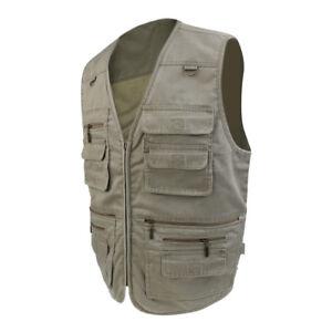 Men/'s Outdoor Fishing Denim Vest Waistcoat Multifunctional Camera Jacket 5XL