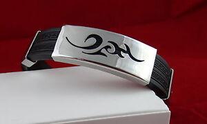 Gourmette-Bracelet-Homme-sport-silicone-et-acier