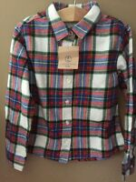 Girls 5 Lands End Plaid Shirt Stewart Plaid White Red Holiday