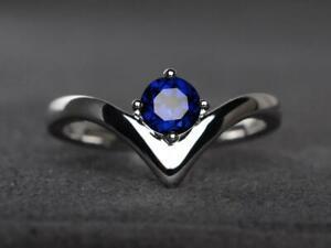 1Ct-Round-Cut-Blue-Sapphire-Wedding-Engagement-Ring-14k-White-Gold-Finish