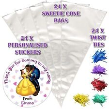 24 Personalised Beauty And The Beast DIY Sweet Cone Party Favour Cello Bags - D1