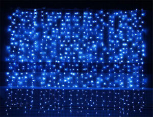 Details About 3x3m 300 Outdoor Blue Led Curtain String Light Wall Party Christmas Lights