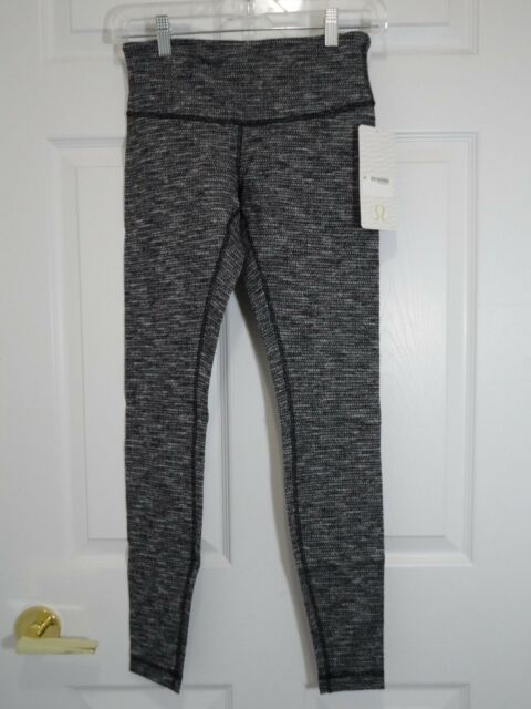 4e8c66d28f0a37 New With Tag Lululemon Wunder Under Pant III Coco Pique Black White Size 8  6 4