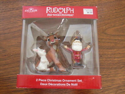 Rudolph Red Nosed Reindeer 2 Piece Christmas Ornament Set Kurt Adler Santa Claus Ebay