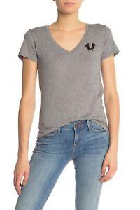 True-Religion-Women-039-s-Sequin-Horseshoe-Logo-V-Neck-Tee-T-Shirt-in-Heather-Grey
