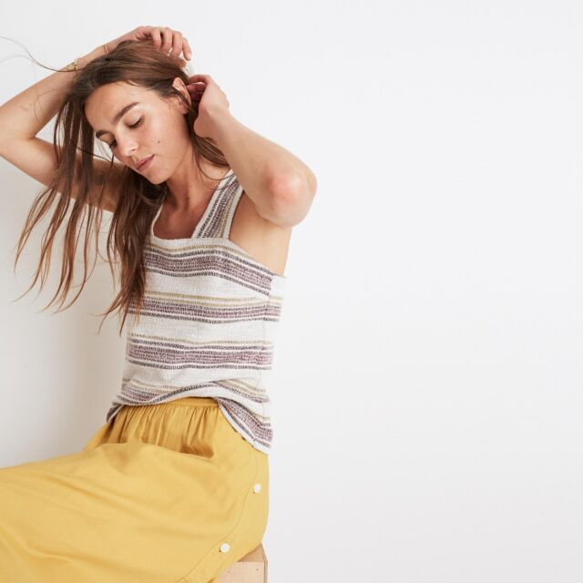 Madewell NWT Apron Button-Back Tank Top in Stripe