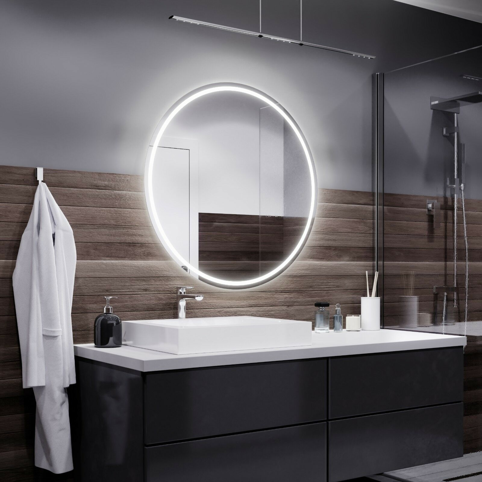 London round Illuminated Led bathroom mirror + TOUCH SWITCH + IP-44 Rated