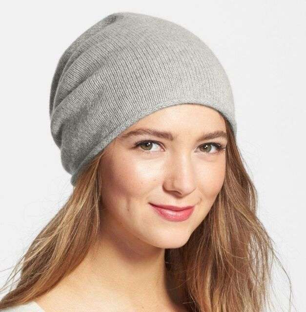 Halogen 1141 Women s Slouchy Cashmere Beanie Grey One Size for sale ... d2241e86c8d