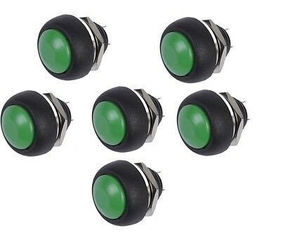5PCS 12mm Waterproof Momentary ON/OFF Push Button Mini Round Switch Green