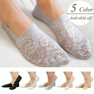 Fashion-Womens-Cotton-Blend-Lace-Antiskid-Invisible-Low-Cut-Sock-Toe-Ankle-Socks