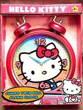 HELLO KITTY TWIN BELL JUMBO ALARM HANGING/STAND ALARM CLOCK SUPER CUTE BNIB