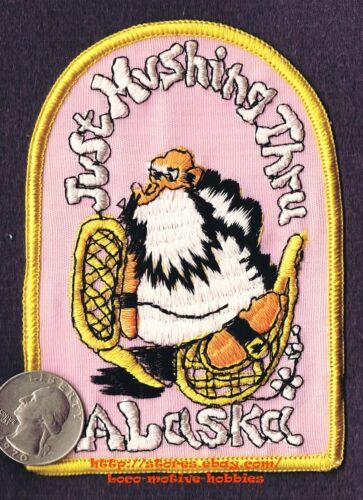 "LMH PATCH Badge  ALASKA  Cartoon  JUST MUSHING THRU Snow Shoe MUSHER Beard  4.5/"""