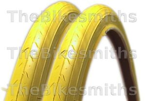 """2 CST 27""""x1-1/4"""" YELLOW Road Bike Tires Track Fixed Gear Bicycle ..."""