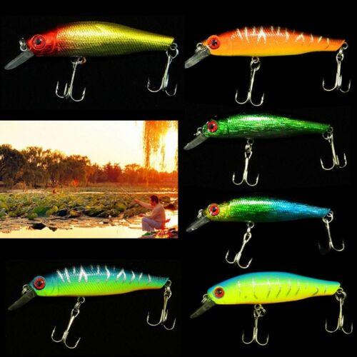Lot 6pcs Minnow Fishing Lures Sinking Rattles Eco Baits 8.5cm 3.35″ 8.9g NEW