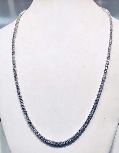 14K White Gold Over 925-22 Carat Round Cut VVS1//D Diamond Tennis 3mm Necklace