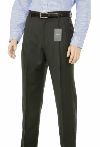 Tasso Elba Classic Fit Solid Olive Green Pleated Wool Dress Pants
