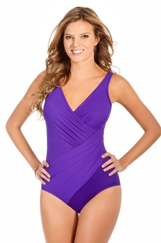 Miraclesuit purple purple Oceanus slimming one piece swimsuit size 14