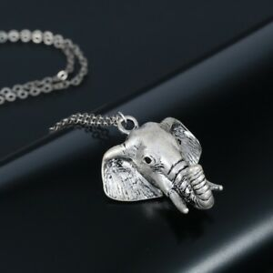 Elephant head pendant on chain necklace silver boho bohemian 3d ebay image is loading elephant head pendant on chain necklace silver boho aloadofball Images