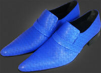 Original Chelsy - Italian Designer Slip On handmade blue hole pattern Leather