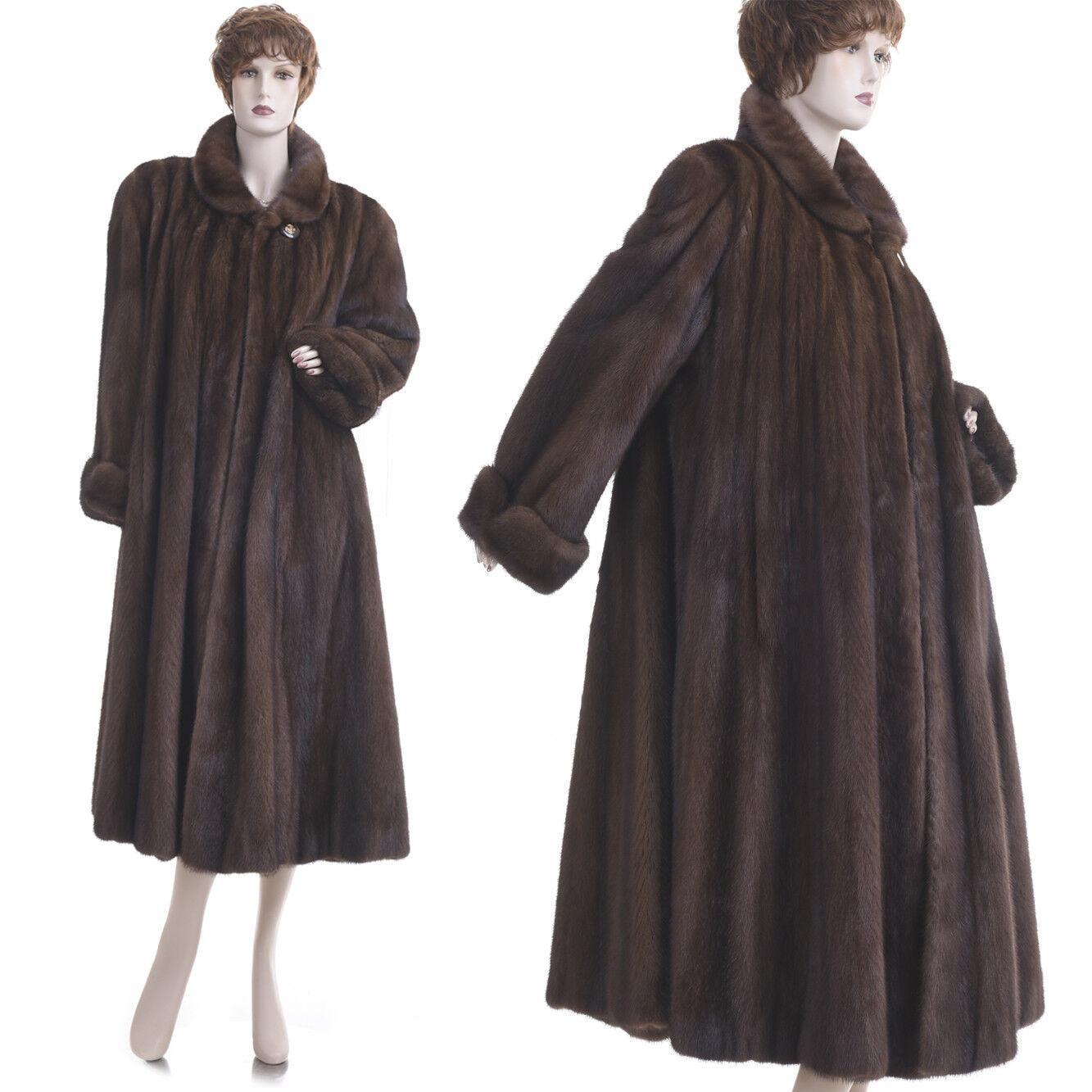 14K New  L-XL  Top Quality Demi Buff Female Mink 110 in. Swing Coat