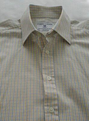"""2019 Moda Men's Joseph Turner Formale-scuola-camicia Casual-giallo Con Blue Check - 15.5""""-casual Shirt - Yellow W/blue Check - 15.5'' It-it Mostra Il Titolo Originale Originale Al 100%"""