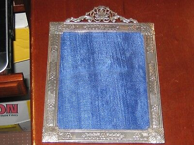 "Antiques Independent Antique English Sterling Ornate Picture Frame Velvet Easel Backed 8 1/2""-6"" Furniture"