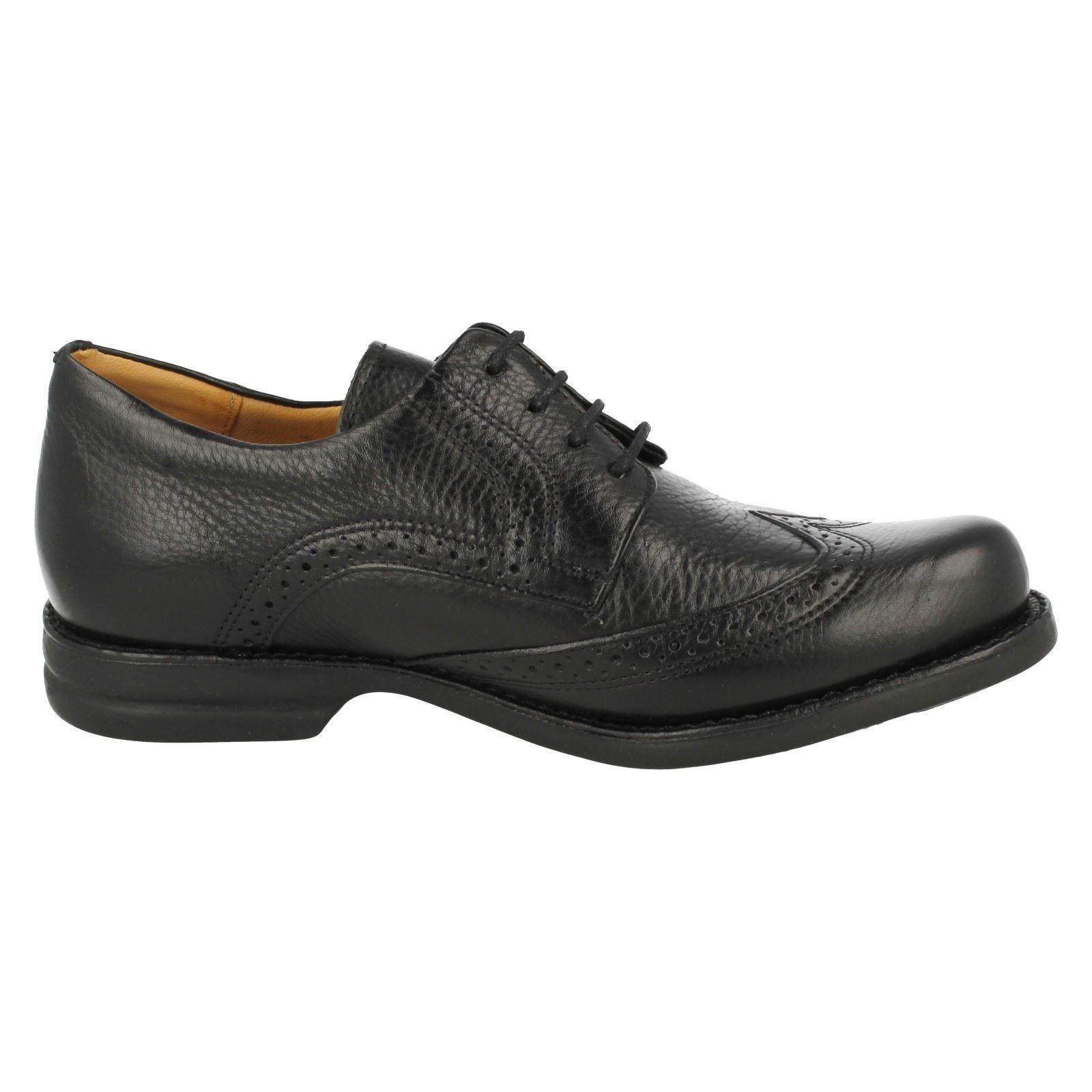 Mens Anatomic Black Leather Lace Up Brogue Shoes Palmas