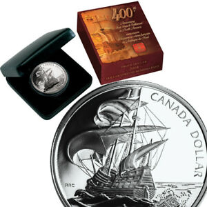 CANADA-1-Dollar-2004-Silver-Proof-039-400th-Anniversary-of-First-French-Settlement-039