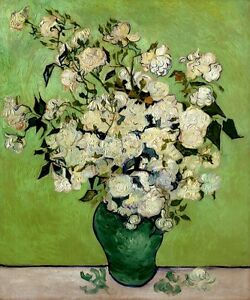 Image is loading WHITE-ROSES-IN-A-VASE-FLOWERS-IMPRESSIONISM-PAINTING- & WHITE ROSES IN A VASE FLOWERS IMPRESSIONISM PAINTING BY VINCENT VAN ...
