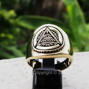 Freemason-Masonic-Mystic-Eye-Pyramid-Great-Seal-Men-039-s-Power-Ring