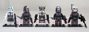 Set of 5 THE BAD BATCH with ECHO Star Wars Minifigures Stands Clone Wars 99