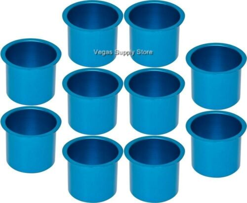 Light Blue for Poker Tables 10 Aluminum Drink Cup Holder 71-0004x10