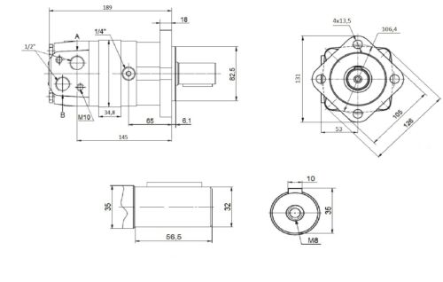 Hydraulikmotor Ölmotor Typ SMS 250 Welle Ø32 ähnlich OMS BMS OMSS OMZS