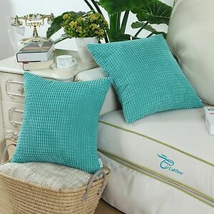 2PCS-Square-Cushion-Cover-Pillow-Shell-Turquoise-Corduroy-Corn-Striped-Home-45cm