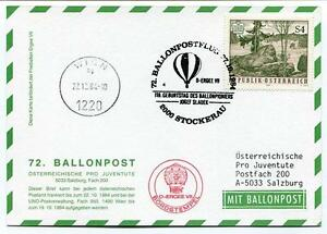 1984 Ballonpost N. 72 Pro Juventute Aerostato D-ergee Vii Stckerau Josef Sladek