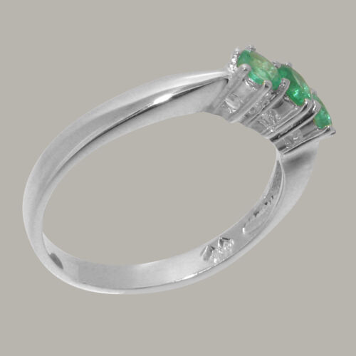 Details about  /Solid 10k White Gold Natural Emerald Womens Trilogy Ring Sizes 4 to 12