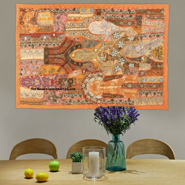 "60/"" HUGE ANTIQUE SARI BEADED SEQUIN EMBROIDERY DECOR THROW WALL HANGING TAPESTRY"