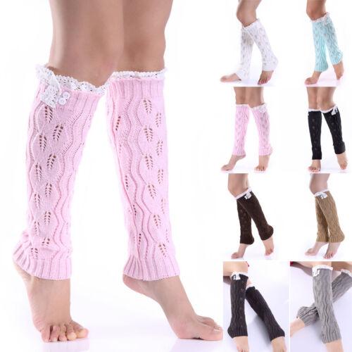 Damen Warm High Knee Stulpen Beinstulpen Leg Warmer Strickstulpen Stiefel Socken