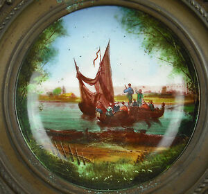Assiette Murale En Porcelaine De Paris Encadré De Cuivre C1900 Au Bon Marché éLéGant En Odeur