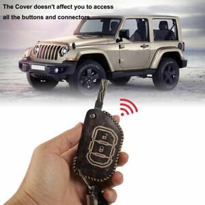 For 2018-2019 Jeep Wrangler JL Leather Car Key Case Holder Keychain Bag Black