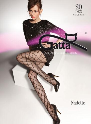 Gatta Nadette 01 20den Strumpfhose kariert gemustert transparent Netz Look Lycra