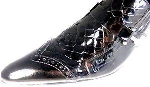 Chelsy in italiano Scarpa Designer nera vernice Croco originale t66Zn05