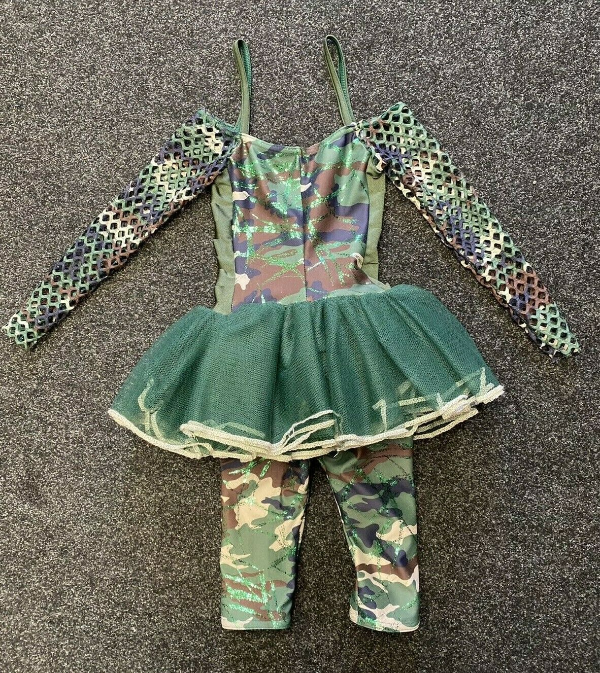 Camouflage BILLIE DANCE UNITARD with Green Tutu Skirt - Age 2 (Size 00) So Cute