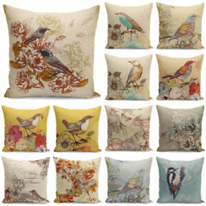 Vintage-Cases-Living-Cover-Pillowcases-Bird-Room-Cushion-Throw-18-039-039