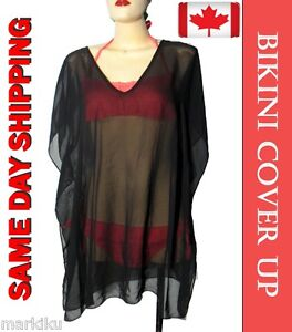 Black-sheer-bikini-bathing-suit-swimwear-beach-cover-up-caftan-Cape-see-thru